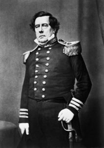 "Original caption: Commodore Matthew Calbraith Perry (1794-1858), the man who ""opened Japan.""  From undated daguerreotype by Mathew Brady. ca. late 1850s USA"